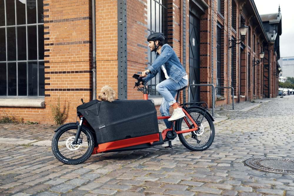 Mann fährt mit seinem Hund im neuen Packster 70 von Riese & Müller durch die Stadt