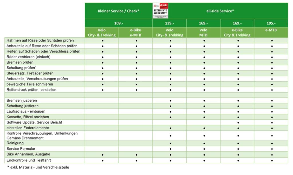 Übersicht der Service Leistungen bei e-motion in Dietikon