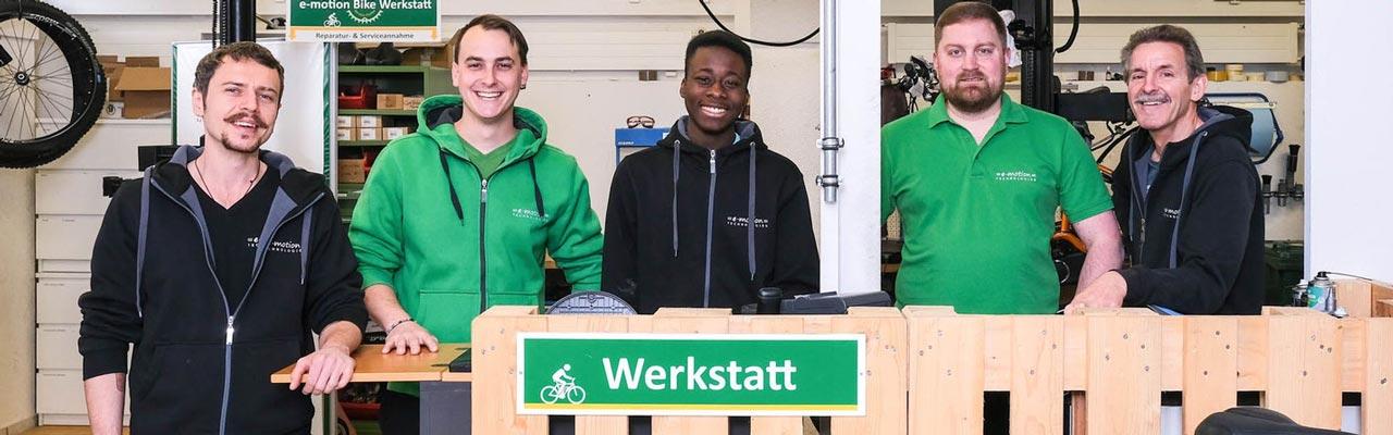 Das Werkstatt Team der e-motion e-Bike Welt Dietikon