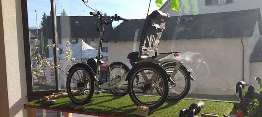 Schaufenster des neuen Dreiradzentrums der emotion e-Bike Welt Dietikon